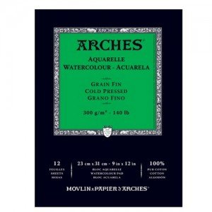 totenart-Acuarela Arches 300 gr, 21x29,7 cm, G. Fino, block 12 h.