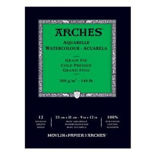 totenart-Acuarela Arches 300 gr, 29,7x42 cm, G. Fino, block 12 h.