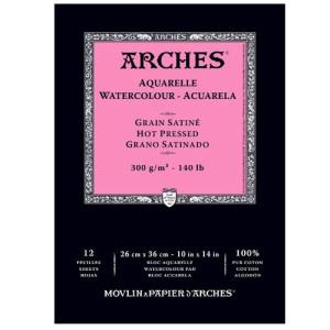 Acuarela Arches 300 gr, 23x31 cm., G. Satinado, block 12 h.