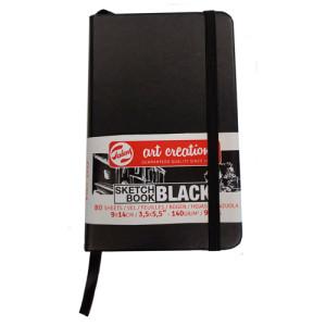 Bloc ArtCreation hojas negras, 9x14, banda elastica, 80 h, 140 gr.