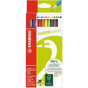 STABILO GreenColors Caja cartón 12 lápices colores surtidos