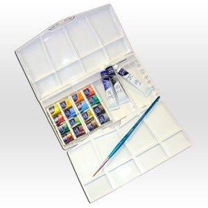 totenart-Caja acuarela cotman Winsor Newton 16 1/2 godets, 3 tubos 8 ml y 1 pincel