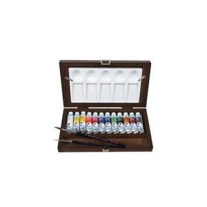 Totenart-Caja madera 12 tubos (10 ml) de acuarelas Van Gogh y accesorios