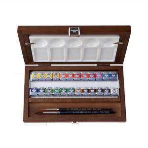 Totenart-Caja madera 24 pastillas de acuarelas Van Gogh y accesorios