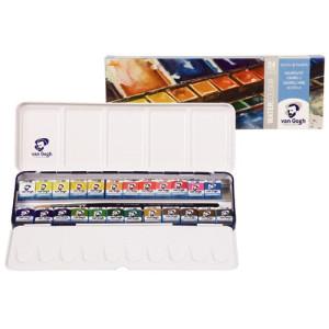 Totenart. Caja metálica con 24 pastillas acuarelas Van Gogh y pincel