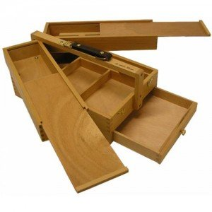 Caja de madera multiusos con asa (24x34x15 cm)