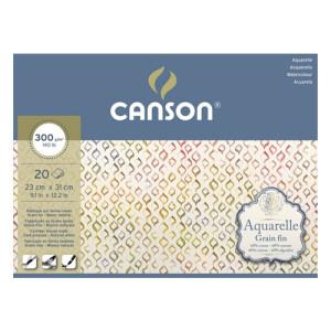 Acuarela Canson (Block), 20h., 300 gr., 25x36 cm., Grano fino