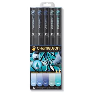 totenart-Estuche Chameleon de 5 Rotuladores Tonos Azul.