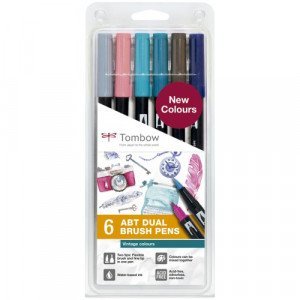 "Estuche 6 rotuladores doble punta pincel. Colores ""Vintage"" Tombow"