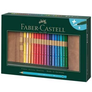 Estuche enrollable de Lápices de color acuarelables Albrecht Dürer, Faber Castell (30 colores + Pincel rellenable)