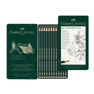 totenart-Estuche metálico de 12 lápices de grafito Castell 9000 Art Set