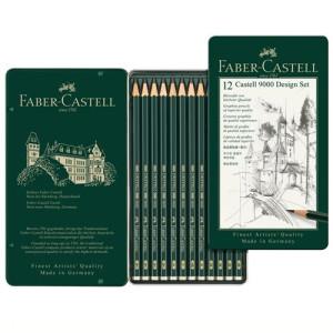 totenart-Estuche metálico de 12 lápices de grafito Castell 9000 Design Set