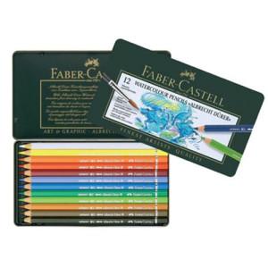 totenart-Caja metal lápices de color acuarelables para Artistas Faber-Castell  12 p.