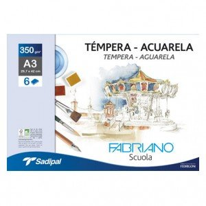 totenart-Fabriano Acuarela, (minipack) 6h, 350 gr, 24x32cm (A4+)
