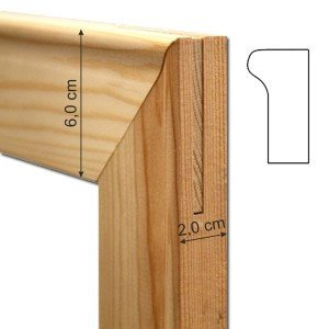 Travesaño de madera de 120 cm. (grosor 2 cm.) para bastidor
