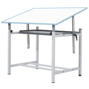 Mesa de dibujo profesional regulable con manivela y bandeja, 90x130 cm.