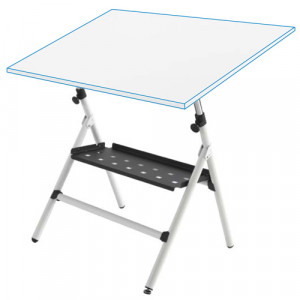 Mesa de dibujo semi-profesional regulable con muelles y bandeja, 80x120 cm.