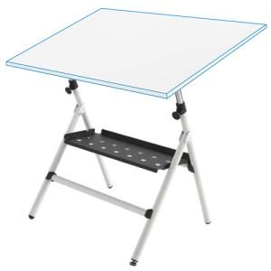 Mesa de dibujo semi-profesional regulable con muelles y bandeja, 75x100 cm.