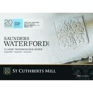 Bloc Acuarela Saunders Waterford, 300 gr, 51x36 cm, 20 hojas, grano fino, Blanco natural