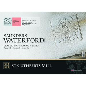 Bloc Acuarela Saunders Waterford, 300 gr, 41x31 cm, 20 hojas, grano satinado, Blanco natural