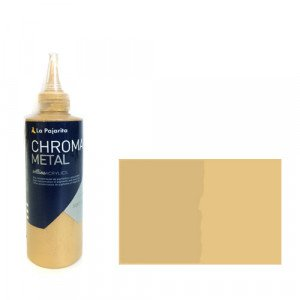 totenart-Pintura Acrílico La Pajarita 01 Oro Rico (Metalizado)  Chroma color (200 ml.)