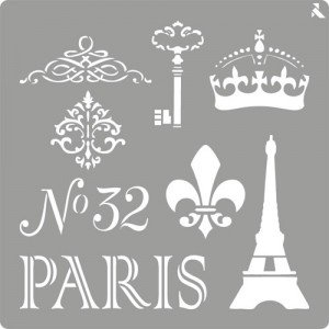 totenart-Stencil plantilla 06 Paris 20x20cm. La Pajarita