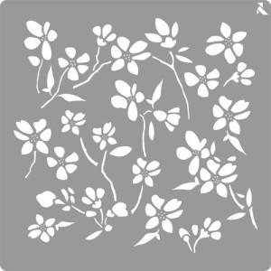 totenart-Stencil plantilla 01 Flores 20x20cm. La Pajarita