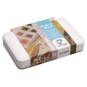 Caja acuarelas Van Gogh Pocket Box,  12 1/2 godets colores naturales y pincel