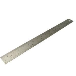 Regla de acero 30 cm. con metrica en cms y pulgadas