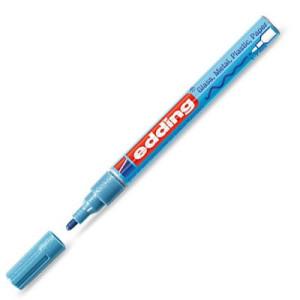 Totenart-Rotulador Tinta Opaca Edding 751 Azul Metálico 70, punta redonda 1-3 mm.