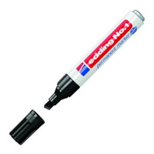 Totenart-Rotulador Permanente Edding Serie 1 Negro 01, punta biselada 1-5 mm.