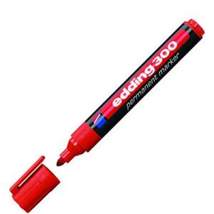 totenart-Rotulador Permanente Edding 300 Rojo 02, punta 1.5-3 mm.
