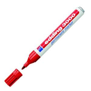 Totenart-Rotulador Permanente Edding 3000 Rojo 02, punta 1.5-3 mm.