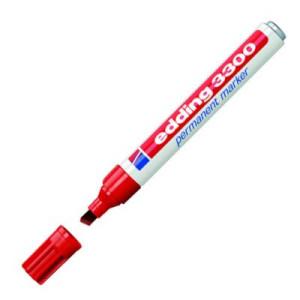 Totenart-Rotulador Permanente Edding 3300 Rojo 02, punta biselada 1-5 mm.