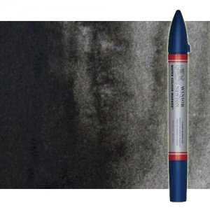 Totenart-Rotulador de acuarela negro marfil Winsor & Newton doble punta pincel