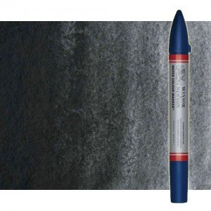 Totenart-Rotulador de acuarela negro de humo Winsor & Newton doble punta pincel