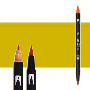 totenart-rotulador-tombow-color-026-amarillo-oro-con-pincel-y-doble-punta