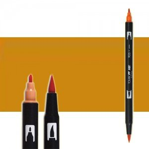 totenart-rotulador-tombow-color-027-ocre-oscuro-con-pincel-y-doble-punta