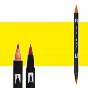 totenart-rotulador-tombow-color-055-amarillo-proceso-con-pincel-y-doble-punta