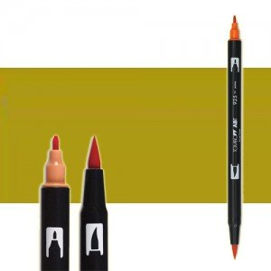 totenart-rotulador-tombow-color-076-ocre-verde-con-pincel-y-doble-punta