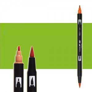 totenart-rotulador-tombow-color-173-verde-willow-con-pincel-y-doble-punta