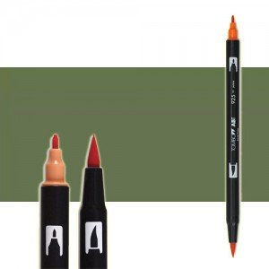 totenart-rotulador-tombow-color-228-verde-gris-con-pincel-y-doble-punta