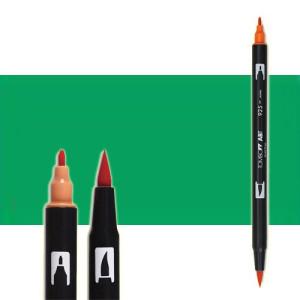 totenart-rotulador-tombow-color-245-verde-vejita-con-pincel-y-doble-punta