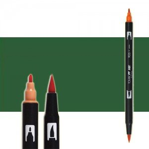totenart-rotulador-tombow-color-249-verde-hunter-con-pincel-y-doble-punta