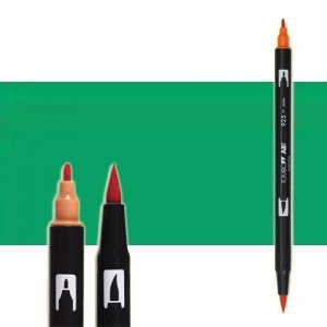 totenart-rotulador-tombow-color-296-verde-con-pincel-y-doble-punta