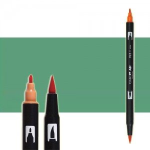 totenart-rotulador-tombow-color-312-verde-holly-con-pincel-y-doble-punta