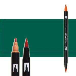 totenart-rotulador-tombow-color-346-verde-mar-con-pincel-y-doble-punta