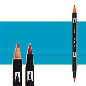 totenart-rotulador-tombow-color-443-turquesa-con-pincel-y-doble-punta