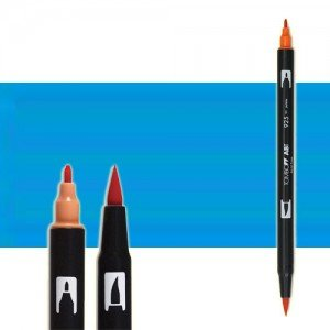 totenart-rotulador-tombow-color-515-azul-claro-con-pincel-y-doble-punta