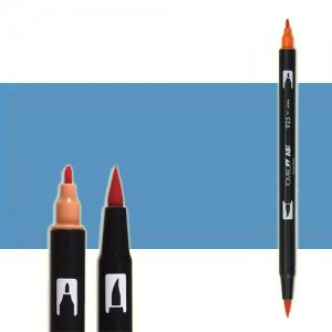 totenart-rotulador-tombow-color-526-azul-true-con-pincel-y-doble-punta